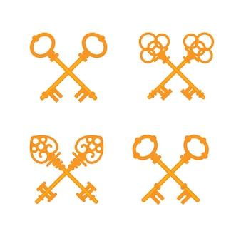 Conjunto de chaves douradas vintage cruzadas