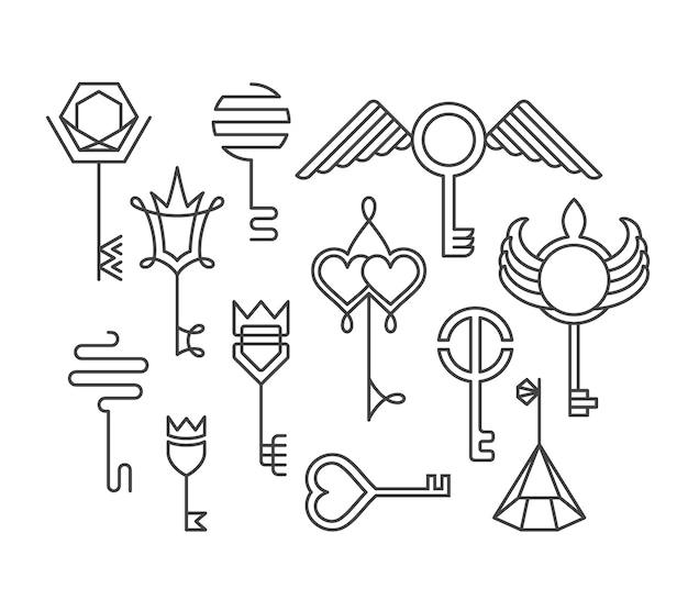 Conjunto de chaves lineares, logotipos e sinais, elementos de design.