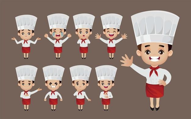 Conjunto de chef com diferentes poses