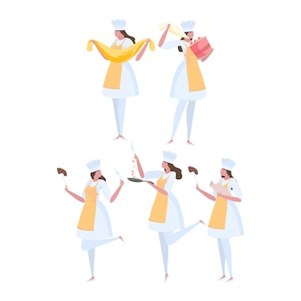 Conjunto de chef de mulher de atividades de uniforme.