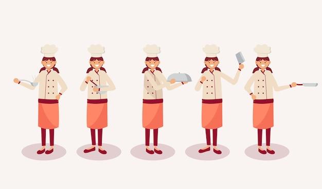Conjunto de chef feminino em personagem de desenho animado com diferentes ações, ilustração isolada