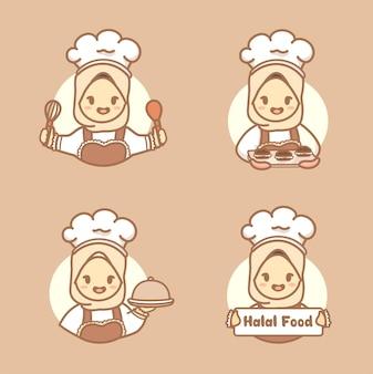 Conjunto de chef muçulmano mulher bonita com hijab segurando bolo, biscoitos e utensílios de cozinha. vetor de modelo de logotipo caseiro halal