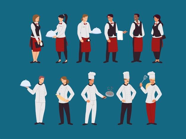Conjunto de chefs e garçons em uniformes de trabalho ilustração design