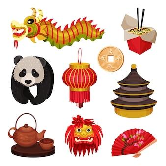 Conjunto de china. conceito de símbolos do leste. ilustração.