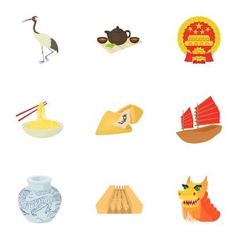 Conjunto de china, estilo cartoon