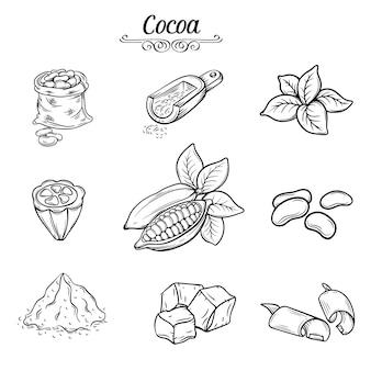 Conjunto de chocolate de cacau decorativo