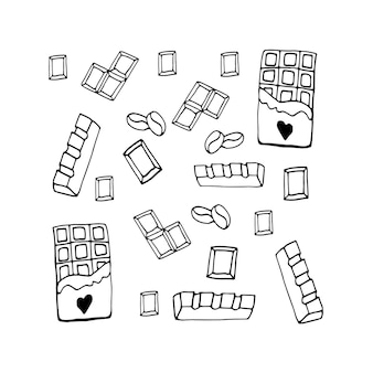 Conjunto de chocolate de elementos de mão desenhada com coração para receita, projeto culinário.