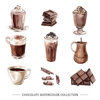 Conjunto de chocolate em aquarela