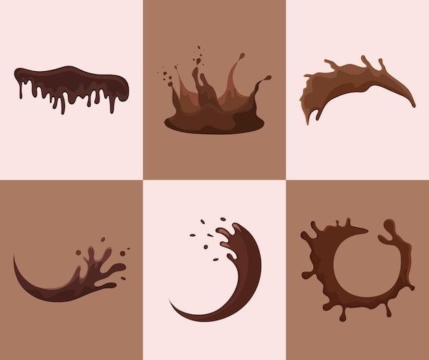 Conjunto de chocolate líquido