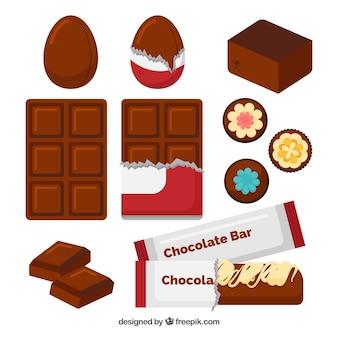Conjunto de chocolates em diferentes formas