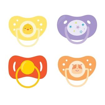 Conjunto de chupetas infantis. equipamento de cuidados com o bebê.