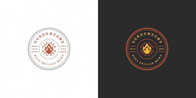 Conjunto de churrascaria de ilustração de logotipo de churrasco