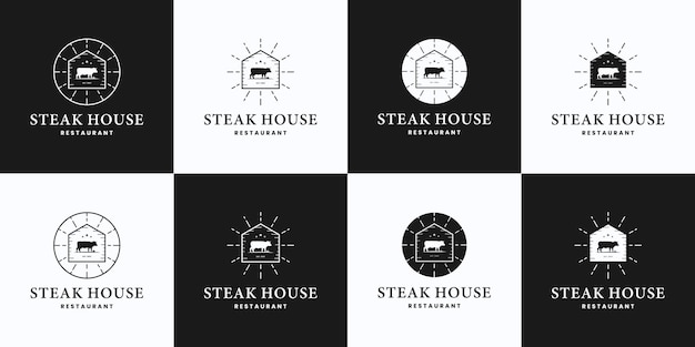 Conjunto de churrascaria, vaca, bife, fazenda, design de logotipo de rancho, estilo vintage