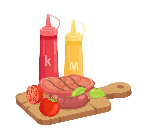 Conjunto de churrasco, curso quente sobre prancha cartoon