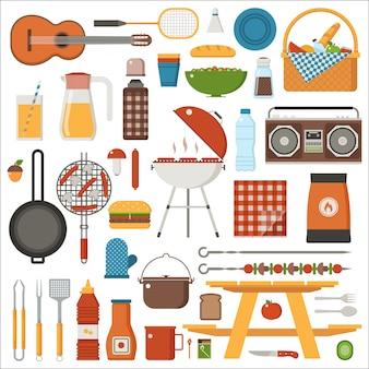Conjunto de churrasco e piquenique. coleção de fim de semana de passeio em família com churrasqueira, jogos de piquenique e ferramentas para grelhar.