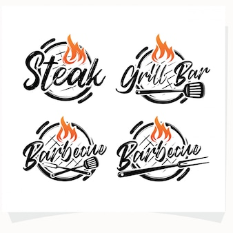 Conjunto de churrasco steak grill house logo