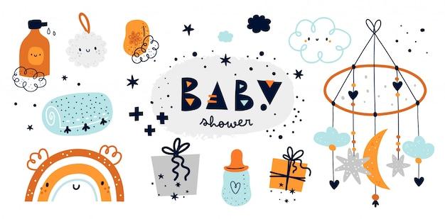 Conjunto de chuveiro de bebê. coleção de coisas de berçário durante o primeiro ano de vida