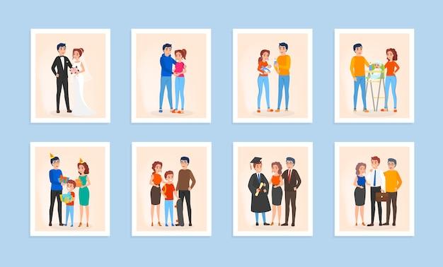 Conjunto de ciclo de vida familiar. casal apaixonado, casamento, gravidez e bebê recém-nascido. conceito de geração e idade. ilustração em vetor isolada em estilo cartoon