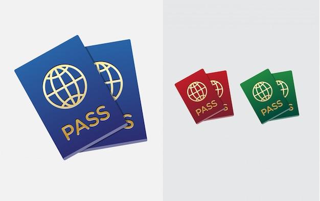Conjunto de cidadania ou identificação de passaporte estrangeiro no vetor colorido