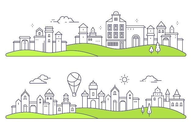 Conjunto de cidade urbana europeia com árvores