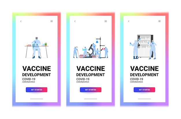 Conjunto de cientistas pesquisadores trabalhando com tubos de ensaio em laboratório de desenvolvimento de vacina contra coronavírus luta contra covid-19 conceito de comprimento total cópia horizontal espaço ilustração vetorial