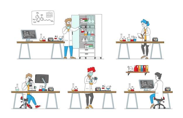 Conjunto de cientistas químicos