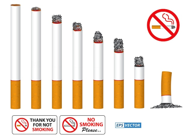 Conjunto de cigarro realista fumegante em uma linha e sinal de proibição de fumar vetor eps