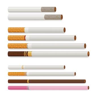 Conjunto de cigarro realista