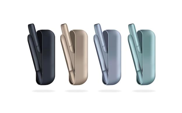 Conjunto de cigarros eletrônicos dispositivo branco para fumar, aquecimento do sistema de tabaco, cigarro eletrônico novo