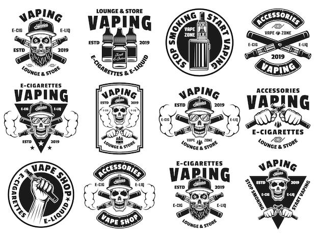 Conjunto de cigarros eletrônicos e vaporizadores de doze emblemas, etiquetas, emblemas ou logotipos de vetor em estilo monocromático isolado no fundo branco