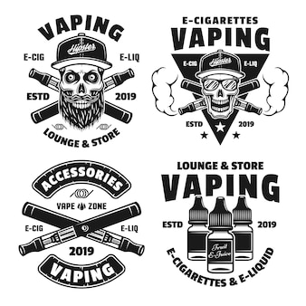 Conjunto de cigarros eletrônicos e vaporizadores de quatro emblemas, etiquetas, emblemas ou logotipos monocromáticos de vetor isolado no fundo branco