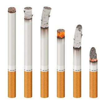 Conjunto de cigarros realistas de estágios de queimadura