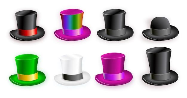 Conjunto de cilindro de chapéu com fita. símbolo de luxo e homens cavalheiro.