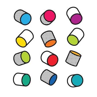 Conjunto de cilindros 3d coloridos no estilo pop art