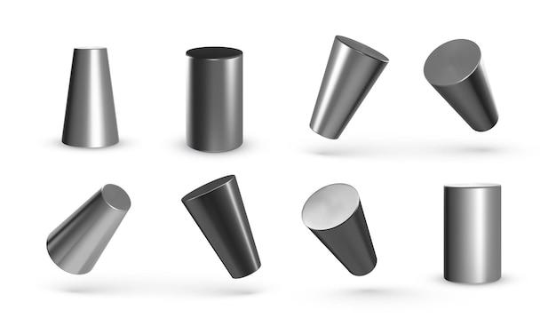 Conjunto de cilindros geométricos de metal isolado no branco