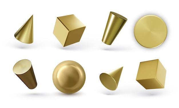 Conjunto de cilindros geométricos dourados isolados no branco