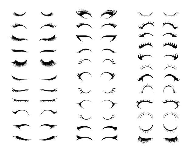 Conjunto de cílios. diferentes tipos de extensões de cílios.