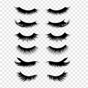 Conjunto de cílios pretos longos. diferentes tipos de cílios bonitos