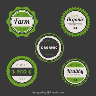 Conjunto de cinco adesivos circulares com alimentos saudáveis