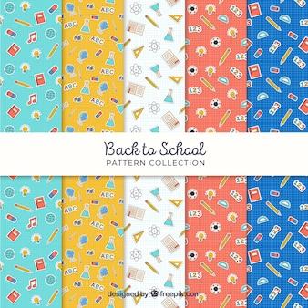 Conjunto de cinco de volta aos padrões de escola