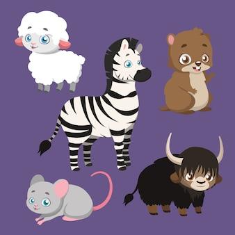 Conjunto de cinco espécies diferentes de animais