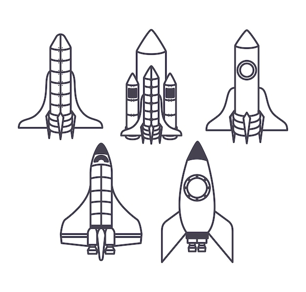 Conjunto de cinco ícones de naves espaciais