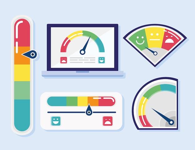 Conjunto de cinco ícones do conjunto de satisfação do cliente e ilustração do tablet
