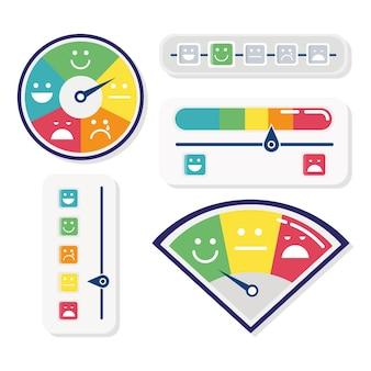 Conjunto de cinco indicadores de satisfação do cliente e ilustração de ícones de barras