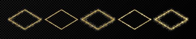 Conjunto de cinco molduras de glitter dourados. quadro de losango com brilhos brilhantes em fundo escuro e transparente. ilustração vetorial