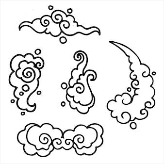 Conjunto de cinco nuvens simples de contorno japonês