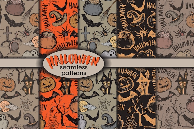 Conjunto de cinco padrões sem emenda com desenho de personagens de halloween e chapéu de bruxa
