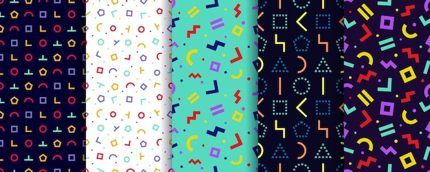 Conjunto de cinco padrões sem emenda de memphis. papel de parede geométrico