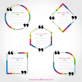 Conjunto de cinco quadros de citação coloridos