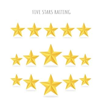 Conjunto de cinco raquetes de estrelas douradas.